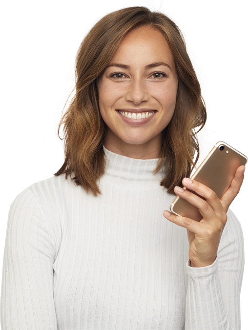 woman with insurance smiling